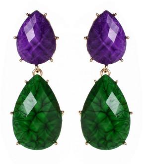 Amrita Singh Purple & Evergreen Camella Teardrop Earrings