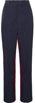 Calvin Klein Two-tone Wool-twill Straight-leg Pants - Navy