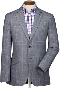 Charles Tyrwhitt Classic Fit Blue Prince Of Wales Checkered Linen Mix Linen Jacket Size 44