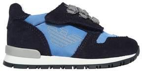 Armani Junior Logo Suede & Neoprene Strap Sneakers