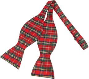 Forzieri Red & Green Plaid Printed Silk Self-tie Bowtie
