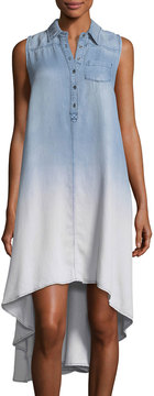 Chelsea & Theodore Ombré Chambray High-Low Dress, Sandblast