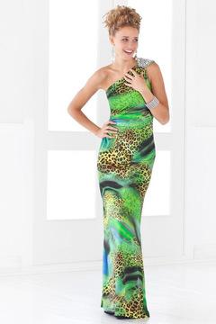 Blush Lingerie Asymmetrical Animal Print Sheath Gown 9379