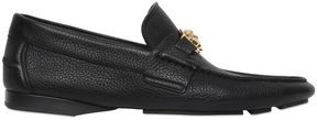Grained Leather Loafers W/ Medusa Detail