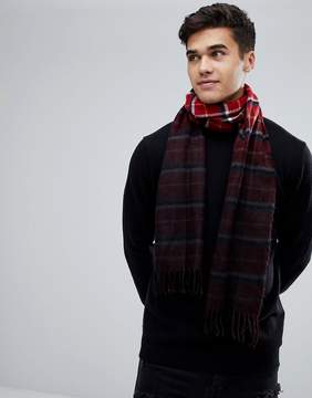 New Look Dip Dyed Check Scarf In Red