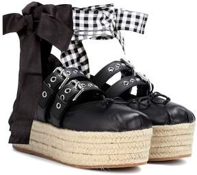 Miu Miu Leather platform espadrilles