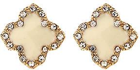 Amrita Singh Austrian Crystal & Enamel Clover Stud Earrings