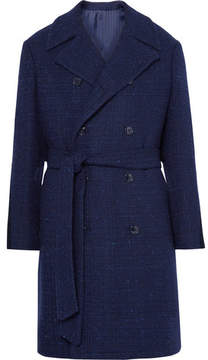 Piombo MP Massimo Double-Breasted Slub Wool-Blend Coat