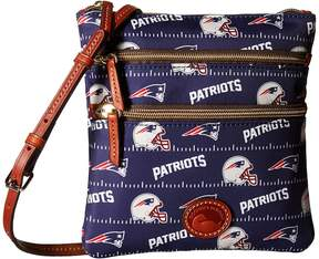 Dooney & Bourke NFL Nylon North/South Triple Zip Handbags - BLACK/BLACK/RAIDERS - STYLE
