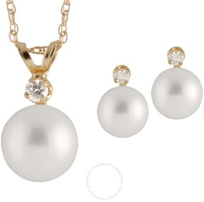 Bella Pearl 14K Gold Sliding Freshwater Pearl and Diamond Pendant and Earring Set