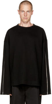 Juun.J Black Zippered Sweatshirt