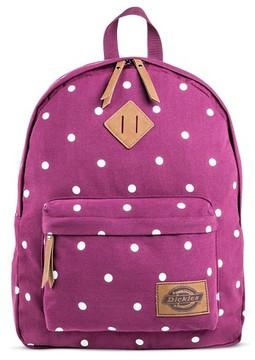 Dickies Women's Canvas Backpack Handbag with Polka Dots and Zip Closure - Maroon