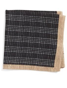 BOSS Men's Plaid Wool Pocket Square