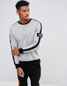 Hype Sweatshirt In Gray With Stripe And Sleeve Patch