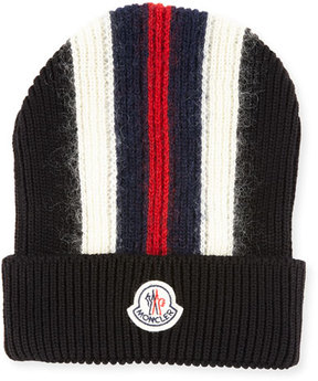 Moncler Men's Wool-Blend Striped Logo Beanie Hat