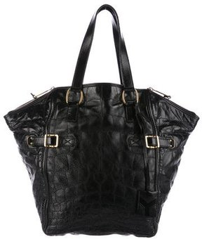 Saint Laurent Embossed Leather Downtown Tote - BLACK - STYLE