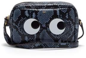 Anya Hindmarch Eyes Python Effect Leather Cross Body Bag - Womens - Grey Multi