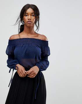 Bardot Influence Shirred Top With Tie Sleeves