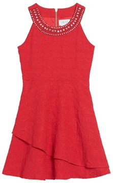 Blush by Us Angels Girl's Jewel Neck Fit & Flare Dress