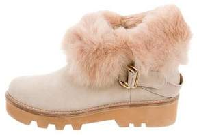Rachel Zoe Suede Shearling-Trimmed Ankle Boots