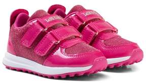 Lelli Kelly Kids Pink Patent Colourissima Low Velcro Trainers with Interchangable Charm