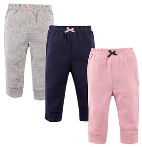 Luvable Friends Gray, Navy & Pink Bow-Accent Pants Set - Toddler & Girls
