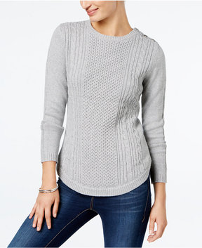 Charter Club Button-Shoulder Sweater, Created for Macy's