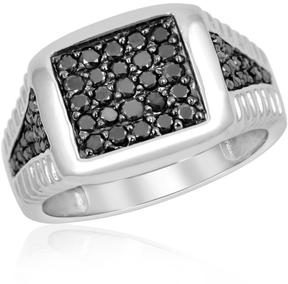 Ice Men's 1 CT TW Round Black Diamond Textured Sterling Silver 5-Row Ring by JewelonFire