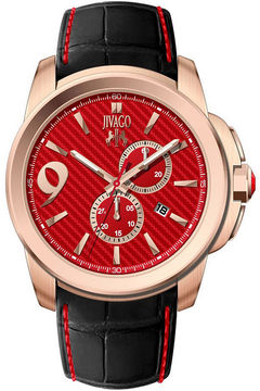 Jivago Mens Gliese Red & Black Leather Strap Watch