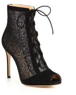 Gianvito Rossi Rebecca Lace & Suede Lace-Up Peep Toe Booties
