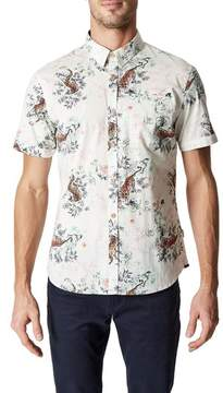 7 Diamonds Men's Wild Thoughts Tiger Print Woven Shirt
