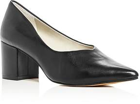 1 STATE 1.STATE Jact Leather Block Heel Pointed Toe Pumps