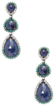 Artisan Women's 3-Tier Blue Sapphire Earring with Emerald & Diamonds