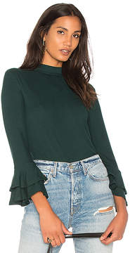 1 STATE Mock Neck Top With Double Ruffle Cuff