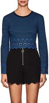 Derek Lam 10 Crosby Women's Eyelet-Detailed Striped Jersey Top