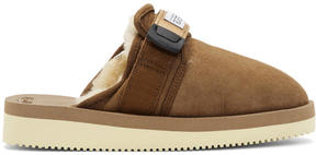 Suicoke Brown Suede and Shearling Zavo Slippers