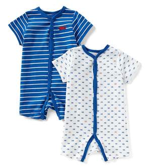 Little Me Baby Boys 3-12 Months Striped/Fish-Print 2-Pack Shortall Set