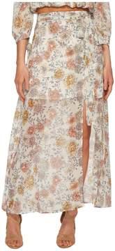 J.o.a. Printed Maxi Skirt with High Side Slit Women's Skirt