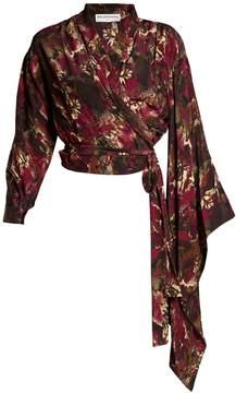 Balenciaga Abstract-print crepe de Chine wrap top