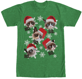 Fifth Sun Heather Kelly Grumpy Cat Christmas 'No' Tee - Men's Big