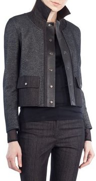 Akris Punto Stand-Collar Snap-Front Short Denim Jacket with Leather Trim