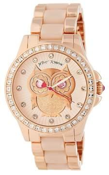 Betsey Johnson Women's Owl Crystal Bracelet Watch