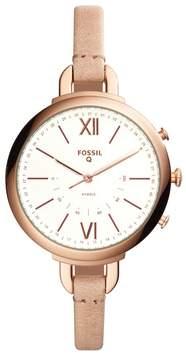 Fossil Women's Q Annette Hybrid Smart Leather Strap Watch, 38mm