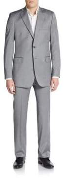 Saks Fifth Avenue BLACK Regular-Fit Herringbone Wool/Silk Suit