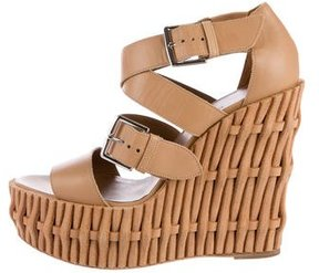 Hermes Leather Crossover Wedge Sandals
