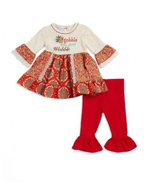 Iris & Ivy Baby Girl's Two-Piece Gobble If You Wobble Top and Pants Set