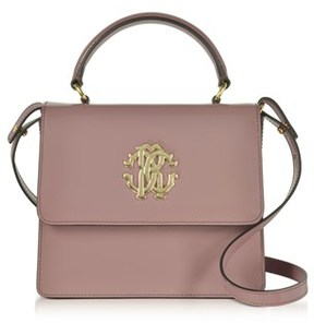 Roberto Cavalli Women's Beige Patent Leather Shoulder Bag.