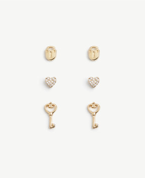 Ann Taylor Heart Lock and Key Stud Earring Set