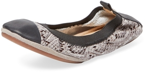 Yosi Samra Women's Printed Snakeskin Leather Cap-Toe Ballet Flat