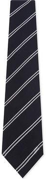 Drakes Double stripe textured wool-silk tie